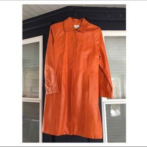 Vintage Orange Long Leather Jacket